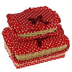Набор шкатулок для рукоделия из 2-х шт., красные с бантом