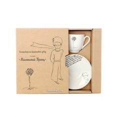 Подарочный набор: кофейная чашка с блюдцем, форма Ландыш, рисунок Роза