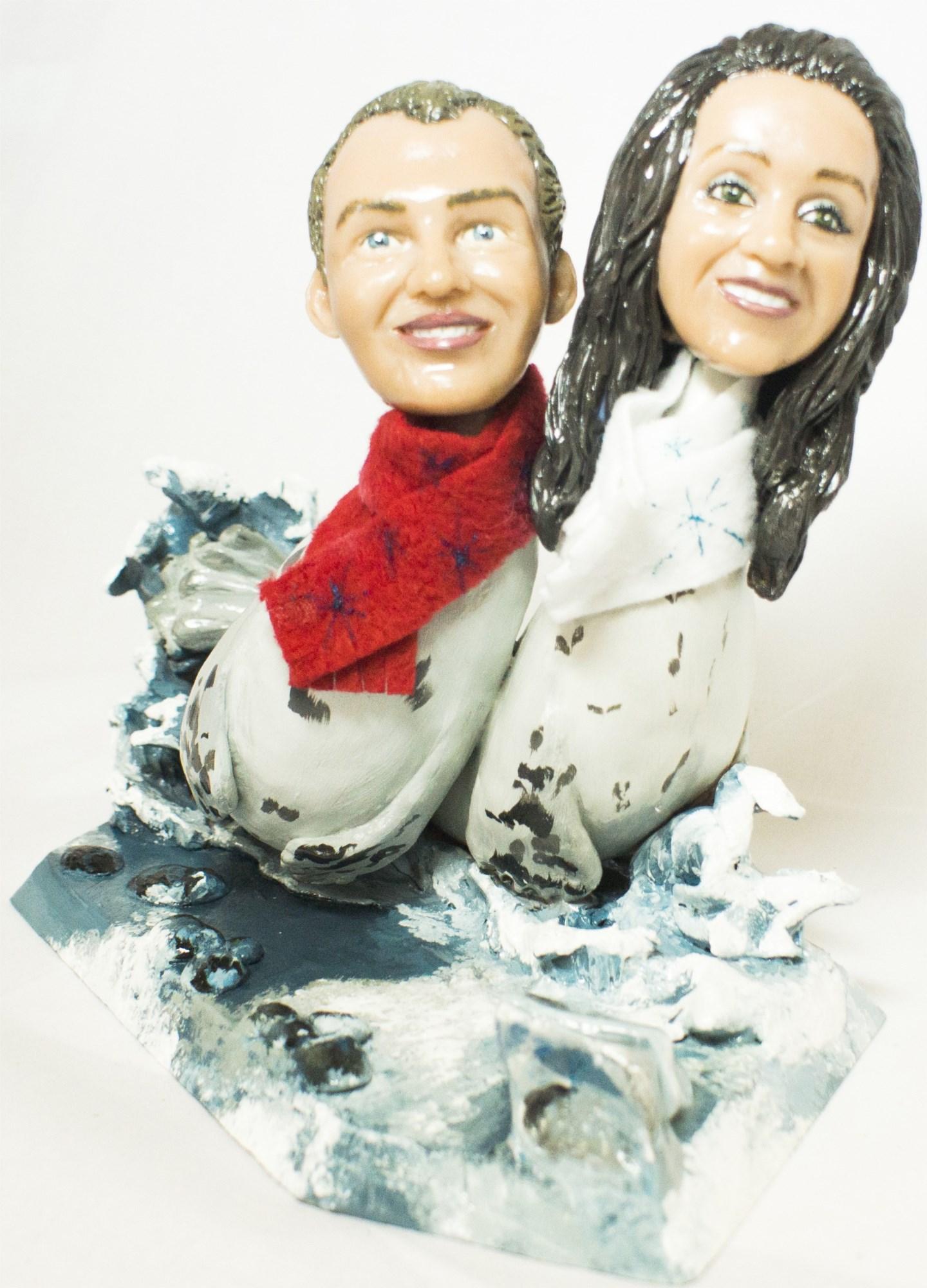 Портретная статуэтка Два тюленя на дрейфующей льдине