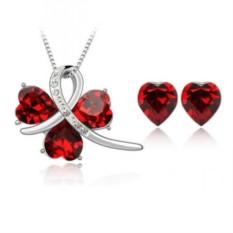 Комплект с красными сердечками Сваровски «История любви»