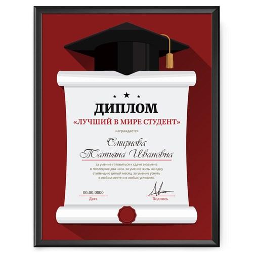 Именной диплом в рамке «Лучший в мире студент»