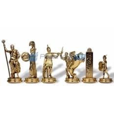 Средние шахматы на красной доске Троянские воины в кейсе