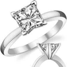 Золотое помолвочное кольцо с квадратным камнем Autumn