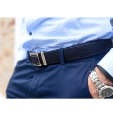 Синий мужской ремень из кожи питона с крупными чешуйками