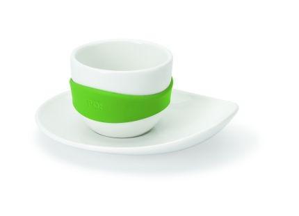 Набор из 4-х чашек для эспрессо Leaf, белый с зеленым