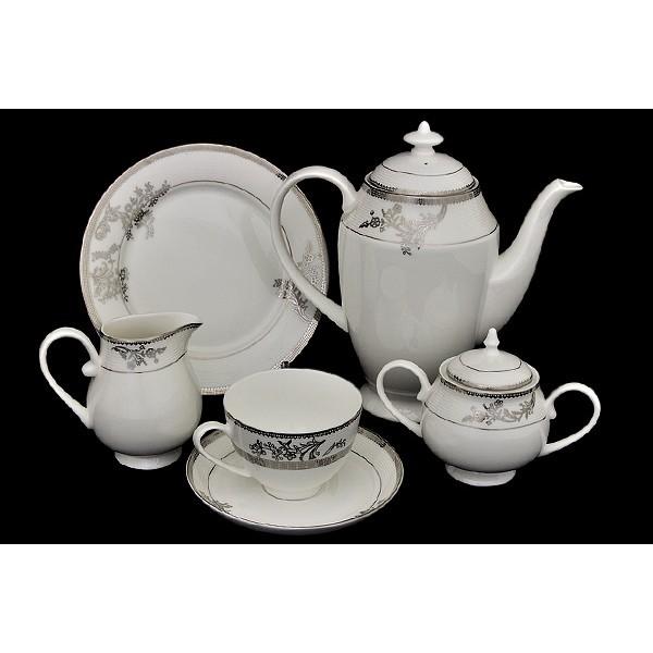Чайный сервиз Серебряные узоры из 21 предмета на 6 персон