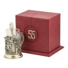 Набор для чая в кожаном футляре С юбилеем-55 лет, бронза