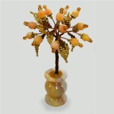 Миниатюрное дерево счастья из желтого агата