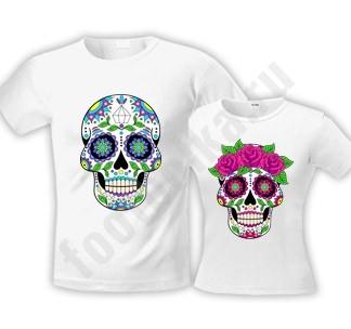 Парные футболки halloween Sugar Skull