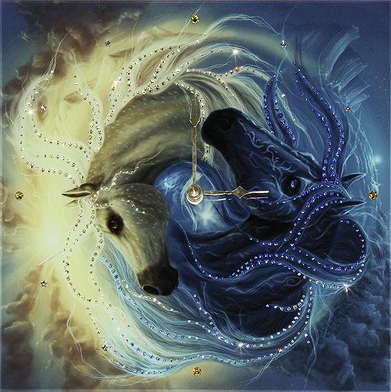 Часы с кристаллами сваровски Инь-ян в год лошади