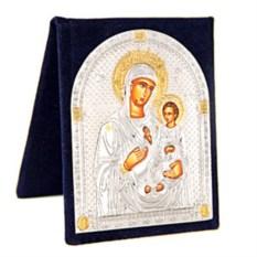 Маленькая серебряная икона в бархатном футляре Иверская Божья Матерь