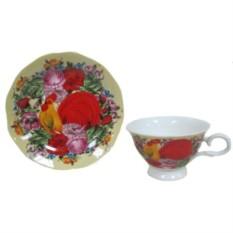 Набор из 2-х чашек с блюдцами Петух в цветах
