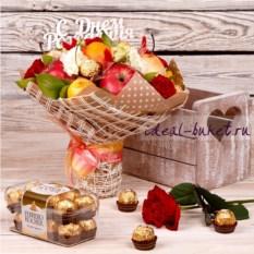Букет из фруктов Фруктово-конфетный день рождения