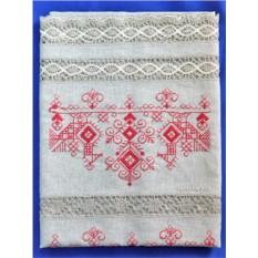 Бежевое льняное полотенце с вышивкой