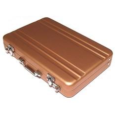 Визитница в виде чемоданчика золотого цвета