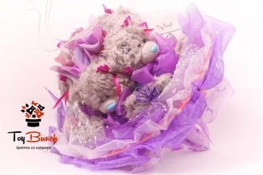 Букет из мягких игрушек (фиолетовый, пять мишек)