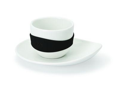 Набор из 4-х чашек для эспрессо Leaf, белый с черным