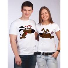 Парные футболки Влюбленные собачки