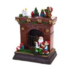 Новогоднее светящееся украшение Дед Мороз у камина