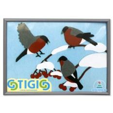 Стигис-аппликация в рамке «Снегири»