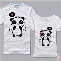 Двухсторонние парные футболки Влюбленные панды