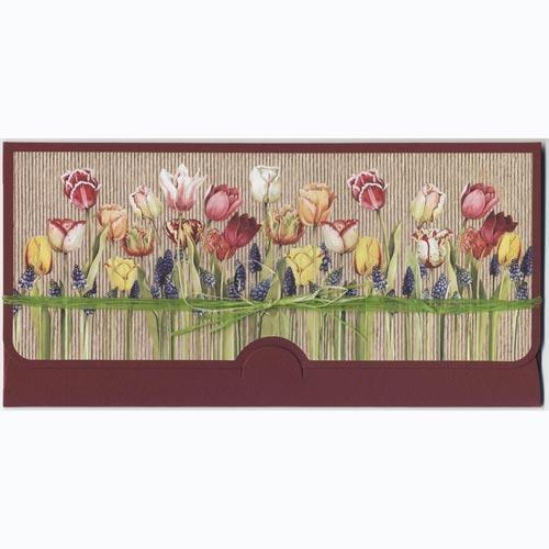 Конверт для денег Тюльпаны ручной работы (большой)