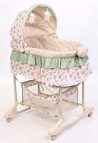 Кровать-люлька Leader Kids YS101, цвет: зеленый/цветы