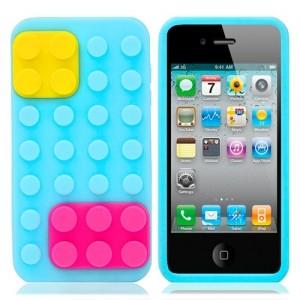 Чехол для iPhone 4/4S Конструктор (голубой)