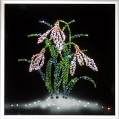 Картина с кристаллами Swarovski Подснежники