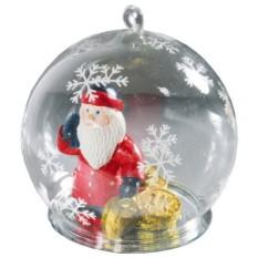 Новогодний стеклянный шар с Дедом Морозом-банкиром