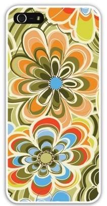 Чехол-накладка для iphone 5/5S, зелено-оранжевые цветы