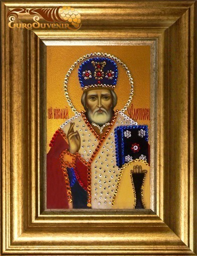 Картина Swarovski Николай Чудотворец (темпера)'', 476 кристаллов, 10х15 см