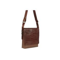 Коричневая кожаная мужская сумка Fabretti