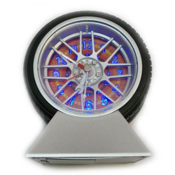 Часы Колесо с будильником и подсветкой на подставке