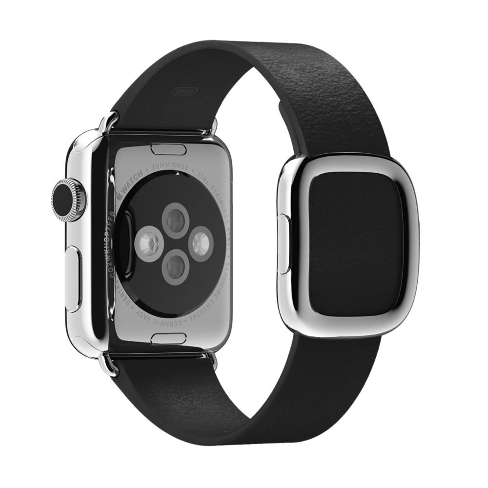 Кожаный ремешок Black Modern Buckle для Apple Watch