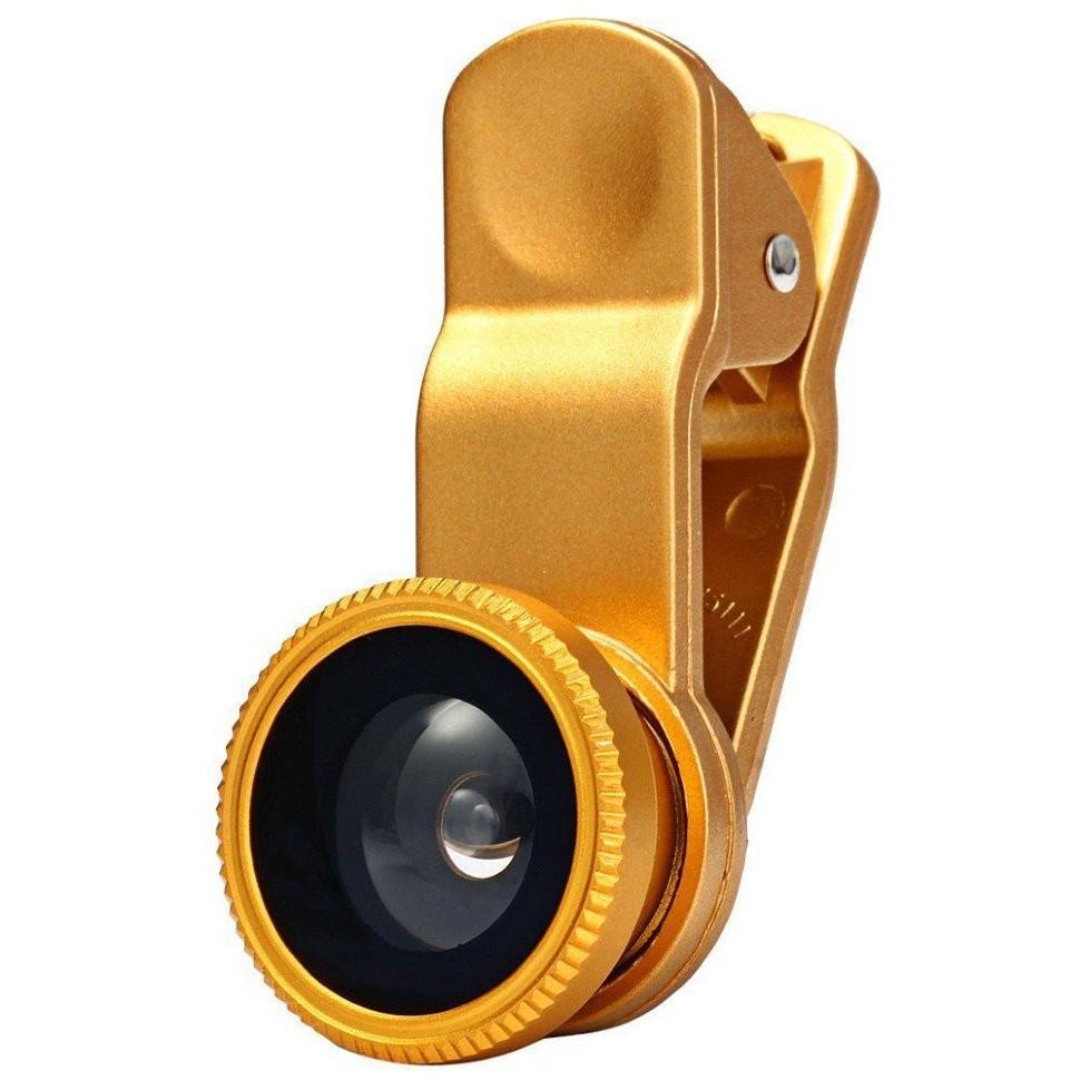 Объектив Fisheye Clip On Gold для iPhone и других телефонов