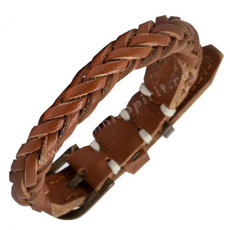 Кожаный браслет-косичка