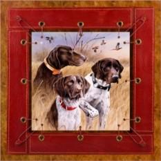 Картина из кожи Охотничьи собаки