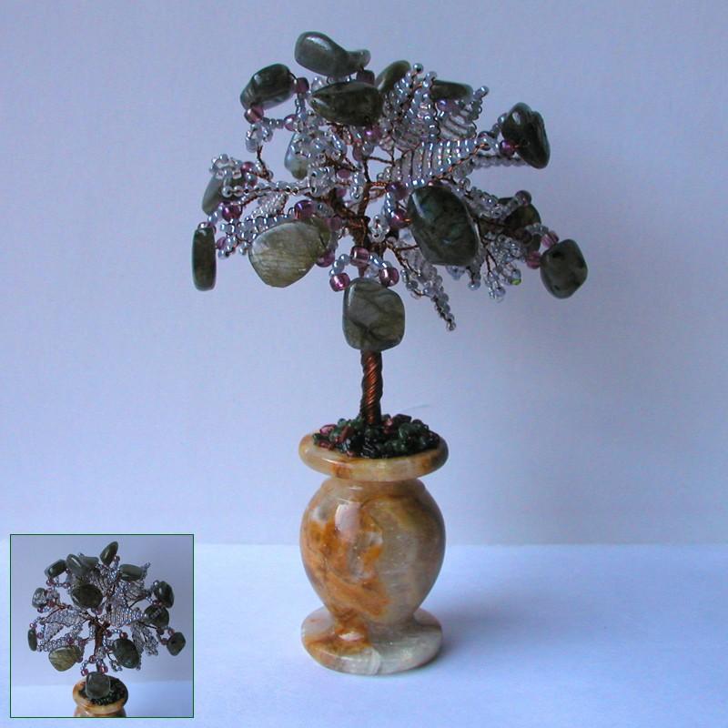 Дерево счастья из лабрадора в вазочке из оникса