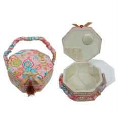 Розовая шкатулка для рукоделия с подносом, размер 22х22х12,5