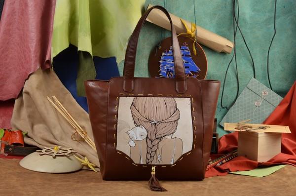 Женская сумка-шопер с принтом Девочка с котенком