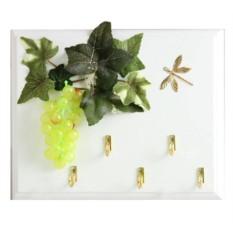 Открытая настенная ключница Виноград зеленый и стрекоза