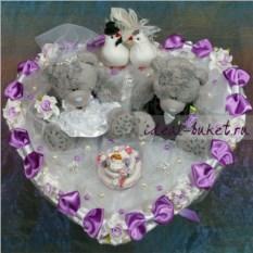 Букет из игрушек Свадебный. Голубки