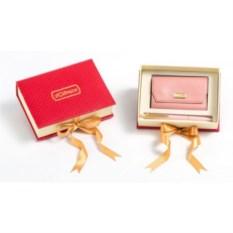 Подарочный набор Розовая визитница из кожи и ручка