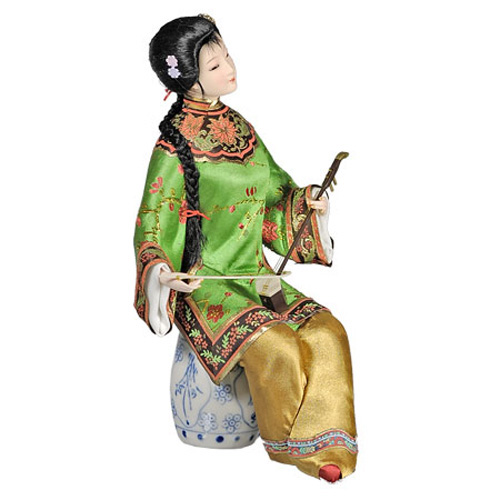 Кукла «Китаянка с сянисэн в зелёном»