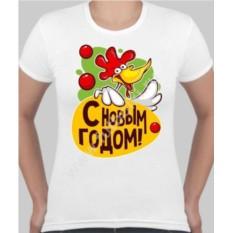 Женская футболка с веселым петухом С новым годом