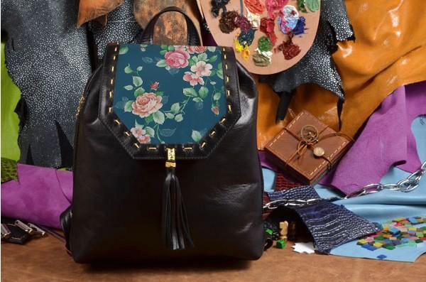 Женский кожаный рюкзак ручной работы Розы розы