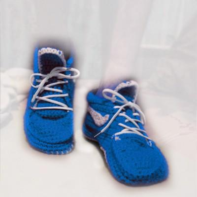 Вязаные кеды, синие