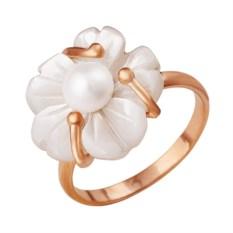 Позолоченное кольцо с белым перламутром и жемчужиной