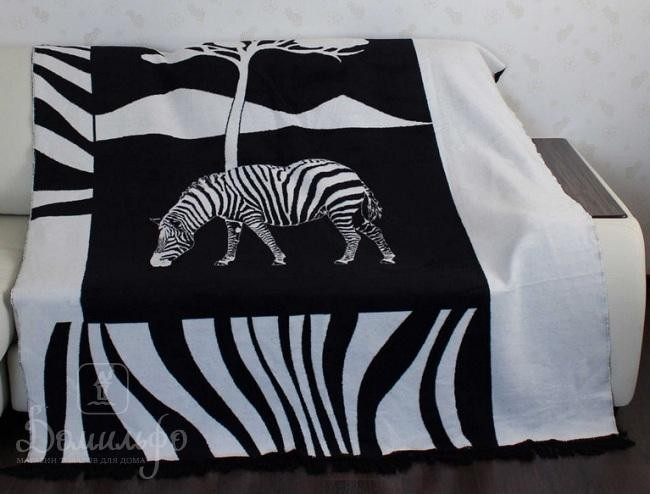 Плед Зебра, черно-белый, 180х220